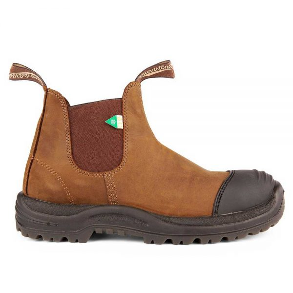 Blundstone Work and Safety Boot Rubber Toe Cap Crazy Horse Brown