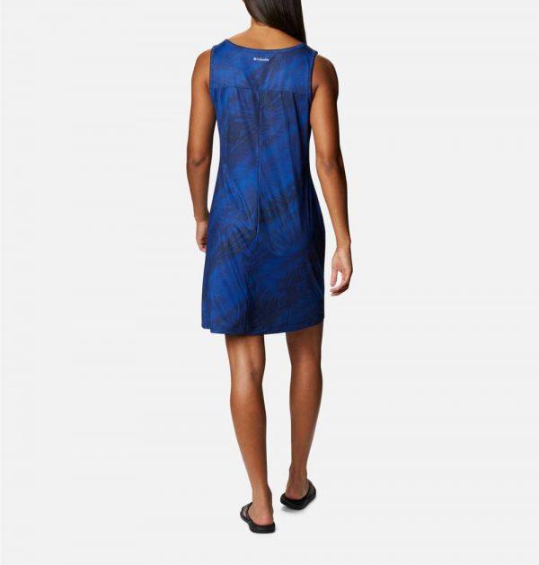 Columbia Womens Chill River Printed Dress-Lapis Blue Tonal Sunburst Print