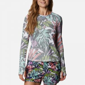 Columbia Womens Sun Deflector Summerdry Long Sleeve Shirt-White/Multi