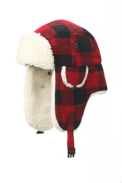 Crown Cap Buffalo Check Aviator Sheepskin Trim