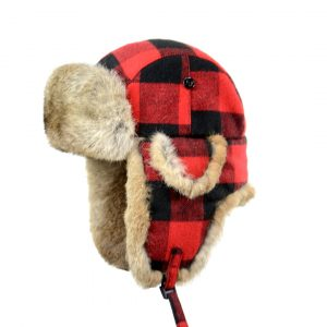 Crown Cap Buffalo Check Aviator With Rabbit Trim