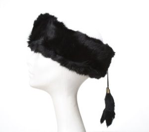 Crown Cap Rabbit Fur Ear Band Black