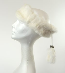 Crown Cap Rabbit Fur Ear Band White