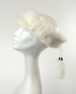 Crown Cap Rabbit Fur Ear Band White