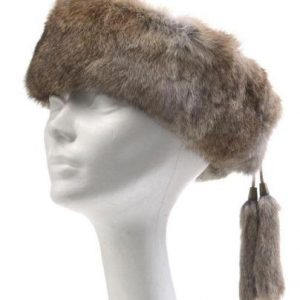 Crown Cap Rabbit Fur Ear Band Brown