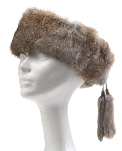 Crown Cap Rabbit Fur Ear Band Brown