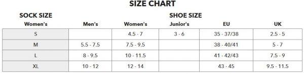 Darn Tough size chart