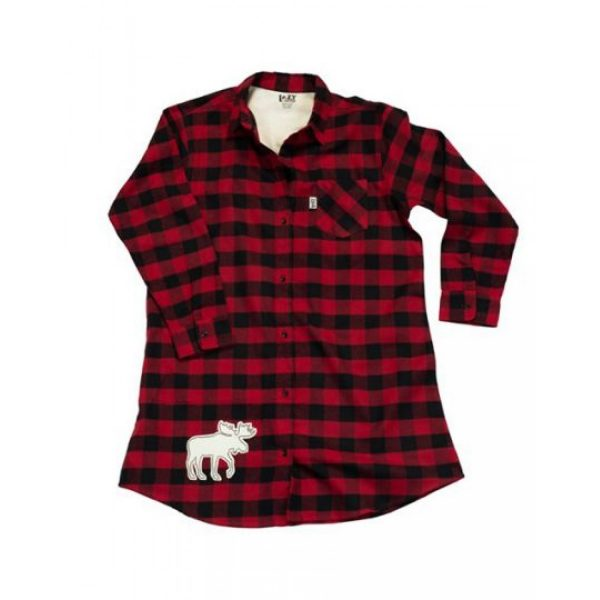 Flannel Moose Plaid Button Down Night Lazy One