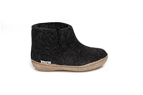 Glerups Leather Sole Boot Kids Charcoal