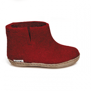 Glerups Leather Sole Boot Kids Red