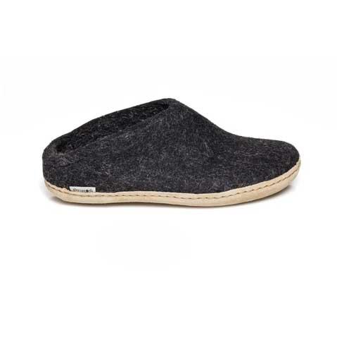 Glerups Open Heel Leather Sole Chracoal