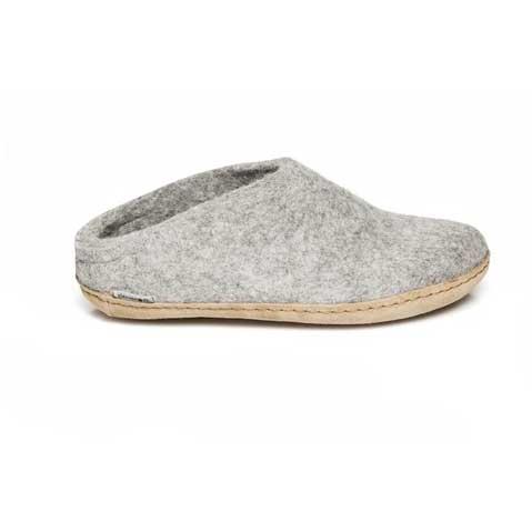 Glerups Open Heel Leather Sole Grey