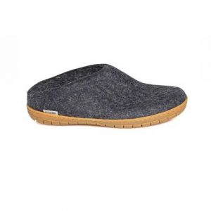 Glerups Open Heel Rubber Sole Charcoal