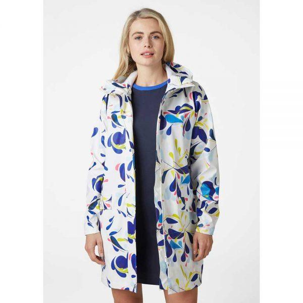 Helly Hansen Women Moss Rain Coat Sling White Print
