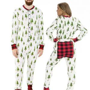 Lazy One Evergreen Plaid Adult Onesie Flapjack