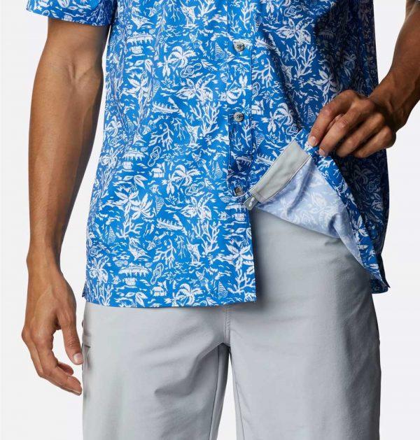 Mens PFG Super Slack Tide Camp Shirt-vivid blue kona