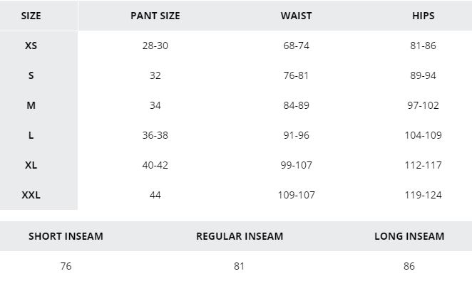 Mens bottoms Columbia size chart