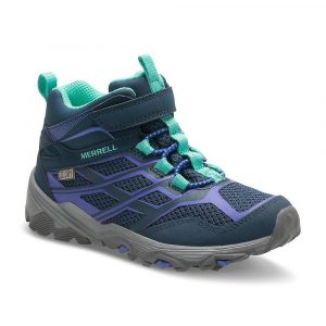 The Merrell Girls Moab FST Mid A/C Waterproof Breathable Walking Boot in this Navy with Grey colorway features a synthetic mesh upper and waterproof construction.Synthetic and mesh upper for breathability and a lightweight feel M-Select DRY bootie waterproof construction to keep feet dry Alternative closure for easy on/off adjustability Non-marking outsole with M-Select GRIP for superior traction