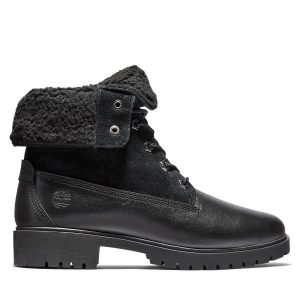 Timberland Jayne Waterproof Fleece Fold-Down Boots Black