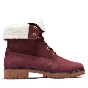 Timberland Jayne Waterproof Fleece Fold-Down Boots Burgundy Nubuck