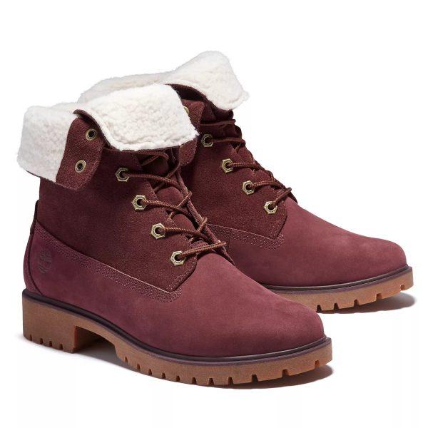 Timberland Jayne Waterproof Fleece Fold-Down Boots Burgundy Nubuck