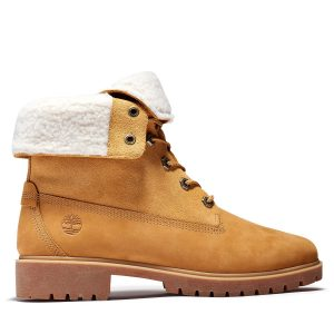 Timberland Jayne Waterproof Fleece Fold Down Boots Wheat Nubuck