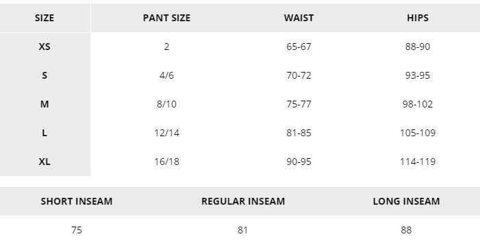 Women's clothing size chart